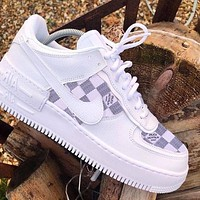 Nike Air Force 1 AF1 X Louis Vuitton LV Women Men Fashion Sneakers White Tartan Shoes