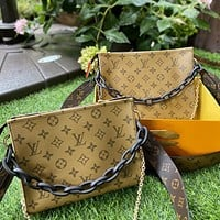 Louis Vuitton LV color changing leather toiletry bag (with long shoulder strap and chain) crossbody bag