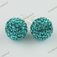 30 COLORS SWAROVSKI CRYSTAL DISCO BALL AUTHENTIC 925 SILVER STUD EARRINGS 10MM