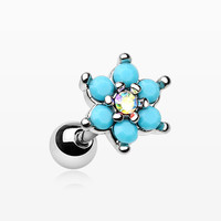 Turquoise Spring Flower Sparkle Cartilage Tragus Earring