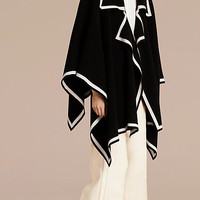 Wool Cashmere Blend Poncho Black/natural White