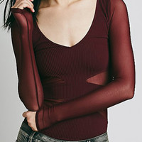Wine Red V Neck Sheer Mesh T-Shirt