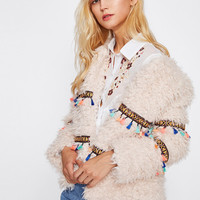 Embroidery Tape And Tassel Detail Open Front Coat