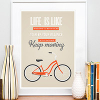 Bicycle quote poster  print, bike quote, inspirational quote, retro bike, tan wall decor,  typography poster, Life is like a riding bicycle