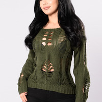 Remember December Sweater - Olive
