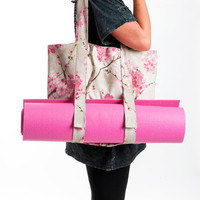 NEW Yoga Mat Bag - Sakura Tote Bag - Yoga Bag- Yoga Accessories - Pink Linen Yoga Bag