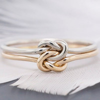 Simple Knuckle Heart Knot Rings