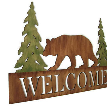Bear Welcome Sign rustic cabin sign, lodge decor, wall hanging hand painted wood in browns and green pine trees