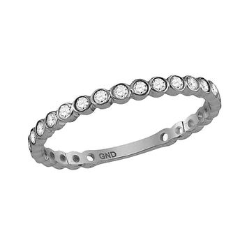 10k White Gold Round Diamond Bezel Set Stackable Band 1/5 Ctw
