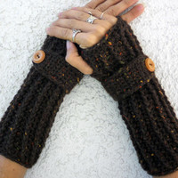 Wool autumn specked long ribbed with wrist strap crochet button arm warmers, fingerless gloves