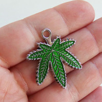 3 Green pot leaf charms, high quality pot leaf charms, large weed charm, pot leaf pendant, cannabis, 420 jewelry, hemp, marijuana - F386