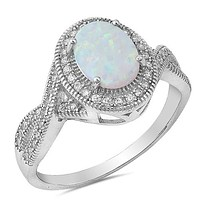 Sterling Silver Oval Created Opal Halo Twist Ring