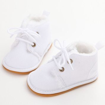 Baby Shoes  Lace-Up Solid  Warm Baby Girl Shoes High Quality Rubber First Walkers