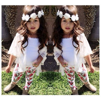 2015 New arrived trendy girls clothing set casual 3pcs set (blouse+vest+floral pants) good quality girls outfit