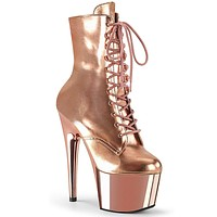 "Adore 1020 Rose Gold Lace Up 7"" High Heel Platform Ankle Boot Sizes 11-14"