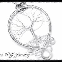 Silver Moon Tree of Life Pendant Celtic Yggdrasil Swirl Wire Wrapped Tree of Life Pendant Necklace Artisan Metaphysical Tree Full Moon