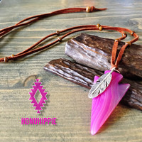 Pink agate stone arrowhead necklace, Native American boho chic