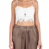Lush Clothing - Floral Crochet Lace Cropped Top - Ivory