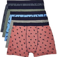 River Island MensRed bird print boxer shorts pack