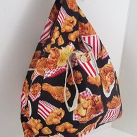 Foldable Lunch Bag - Fried Chicken Print w/ Strap and Button Closure // FOLDBAG   reusable shopping bag, reusable grocery bag, reusable tote