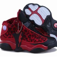 Cheap Air Jordan 13 XIII Leopard Red Black Shoes