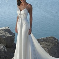 Sexy Deep Sweetheart With Spaghetti Straps Natural Waist Satin Wedding Dress WD0044