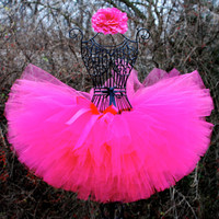 """Pink tutu/Handmade and custom tutus for your """"little princess..."""" can be made any solid color/ pink tutu/ newborn-12 months,1,2,3,& up"""