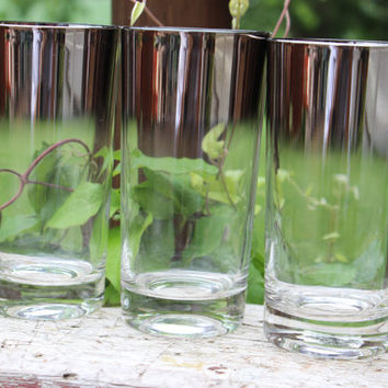 3 Vintage Mid Century Modern Silver Ombre Highball glasses, Mad Men Barware, MCM bar cart glasses, vintage silver cocktail glasses,