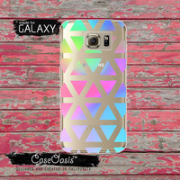 Triangle Neon Pastel Pattern Geometric Shapes Tumblr Inspired Cute Clear Galaxy S6 Case and Clear Galaxy S6 Edge Case Custom Samsung Case