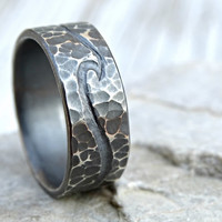 beach wedding ring two engraved waves, silver wave ring, ocean ring, mens wedding band rustic, engraved silver ring hammered, cool mens ring