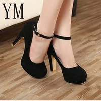 HEEL SHOES Sexy Ankle Strap Round toe High heels Platform Pumps