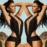 2016 sexy one piece swimwear backless bathing suit padded deep V one piece monokini swimsuit bandage bodysuit black