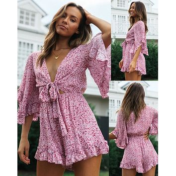 2020 new women's sexy V-neck flared sleeves lace-up printed casual jumpsuit