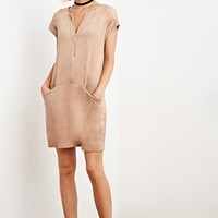 The Allflower Faux Suede Shift Dress