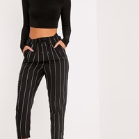 Diya Black Pinstripe Casual Trousers