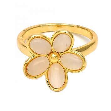 Gold Layered Multi Stone Ring, Flower Design, with Opal, Golden Tone