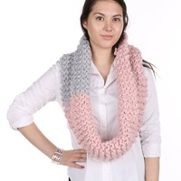 Pink Hand Knit Infinity Two Color Scarf