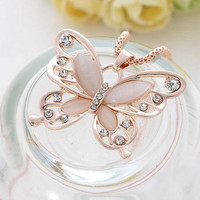 Necklaces Womens Lady Rose Gold Opal Butterfly Pendant maxi Necklace Sweater Chain jewelry CF