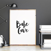 PRINTABLE Art, BABE CAVE,Shabby Chic Boho Pirnt,Chic Poster,Inspirational Art,Black And White,Watercolor,Typography Print,Chick Sign