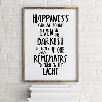 Albus Dumbledore, Inspirational quote, kids wall art, dorm decor college student gift Harry Potter quote print - Happiness can be found