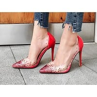 Hot-selling pointed shallow water drill transparent thin super high heel single shoes Black