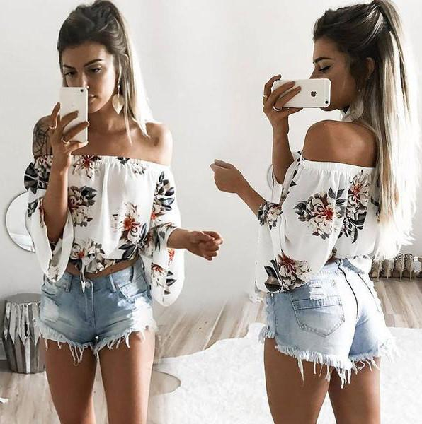 Image of Fashion Casual Flower Print Off Shoulder Long Sleeve T-shirt Tops