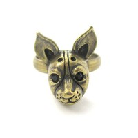 3D Boston Terrier Dog Face Shaped Adjustable Animal Ring in Brass from DOTOLY