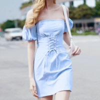 Blue Plaid Summer New Women's Temperament Ruffled Square Lingerie Dress Strap Platycodon Summer