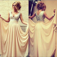 2014 New style V Neck Sequines Long Chiffon Sleeveless Elegant Prom Dresses/ Gowns/Formal Gown/floor length evening dress