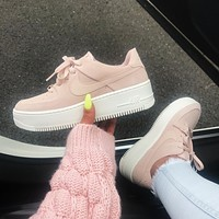 NIKE AIR FORCE 1 LOW AF1 Women's suede thick-soled muffin board shoes