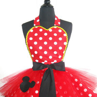 "Women's Minnie Mouse Inspired Tutu Costume Apron with headband bow ""ears"""
