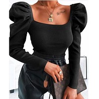 Fashionable hot sell women sexy thread retro style square collar T-shirt blouse