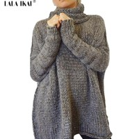 Plus Size XL Sweater Women 9 Color Knitted Pull Loose Pullovers Female Turtleneck Long Sleeve Ladies Oversize Sweater JJH0216-45