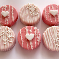 Valentine Pink and White  Chocolate Covered Oreos 12 pcs.